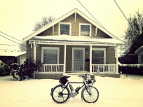 Snow bike, snow house.