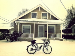 Snow bike, snow house.