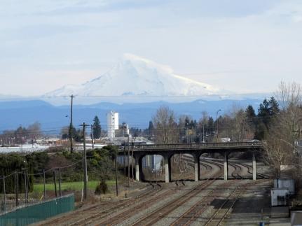 Mount Hood looms over Portland.