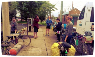 The group, assembled for bike camping.
