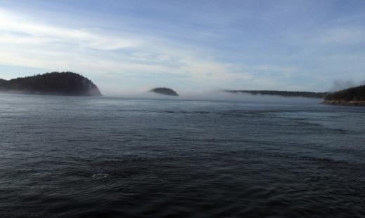 Fog over the San Juan Islands.