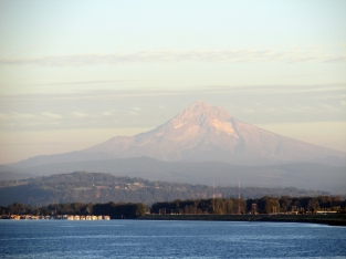 Mount Hood looms over the Columbia.
