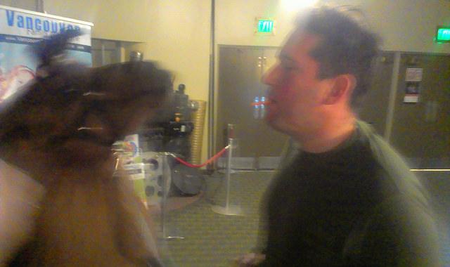 Kissing the llama.