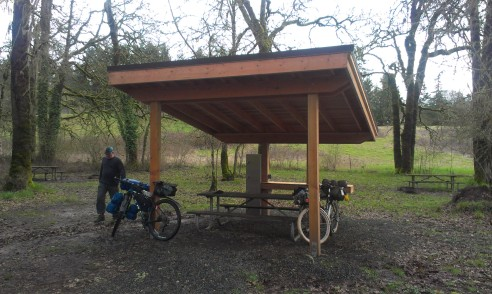 The new shelters at Champoeg.
