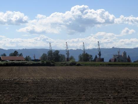 Farmland, hills, ships.