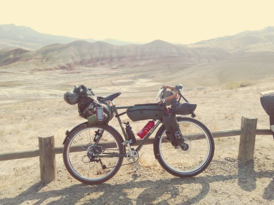 At the Painted Hills. Note replacement front tire (Schwalbe Fat Frank.)