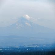 A hazy Mount Hood